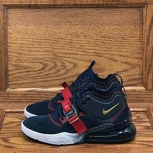 Nike Air Force 270 Obsidian Metallic Gold Gym Red